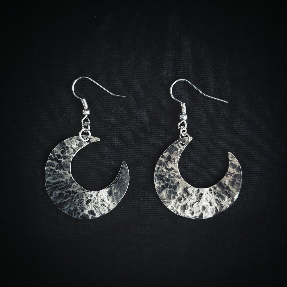 Image of MOON SMALL sterling silver earring pair