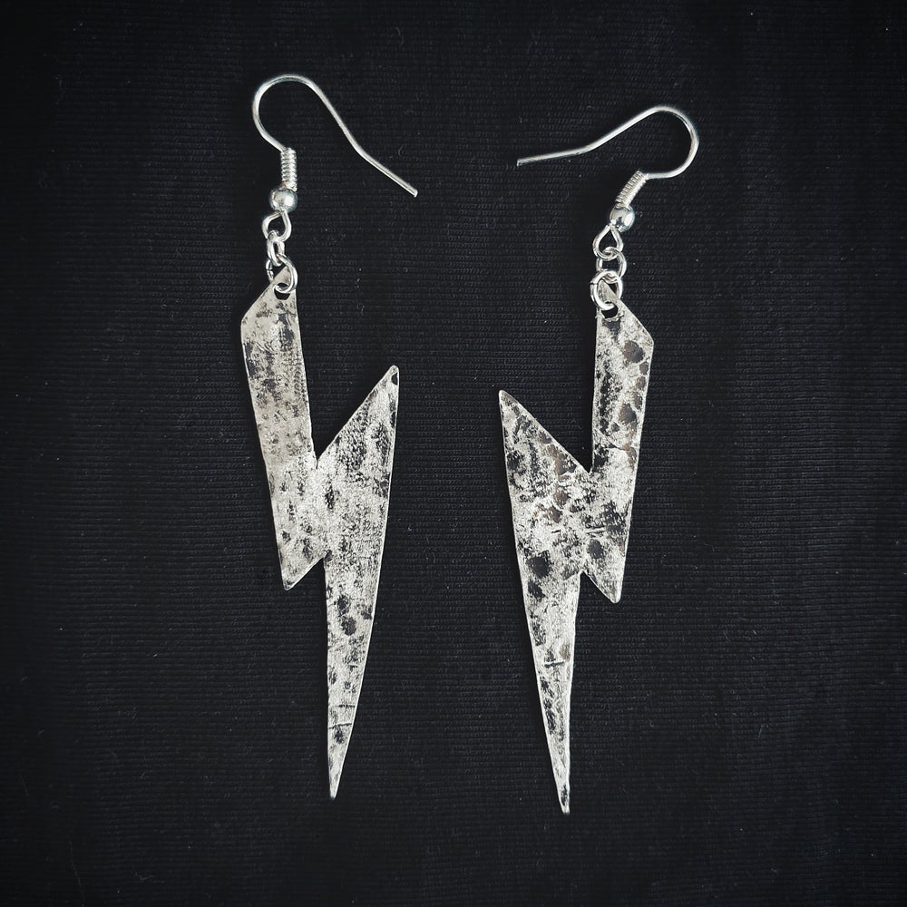 Image of LIGHTNING sterling silver earring pair