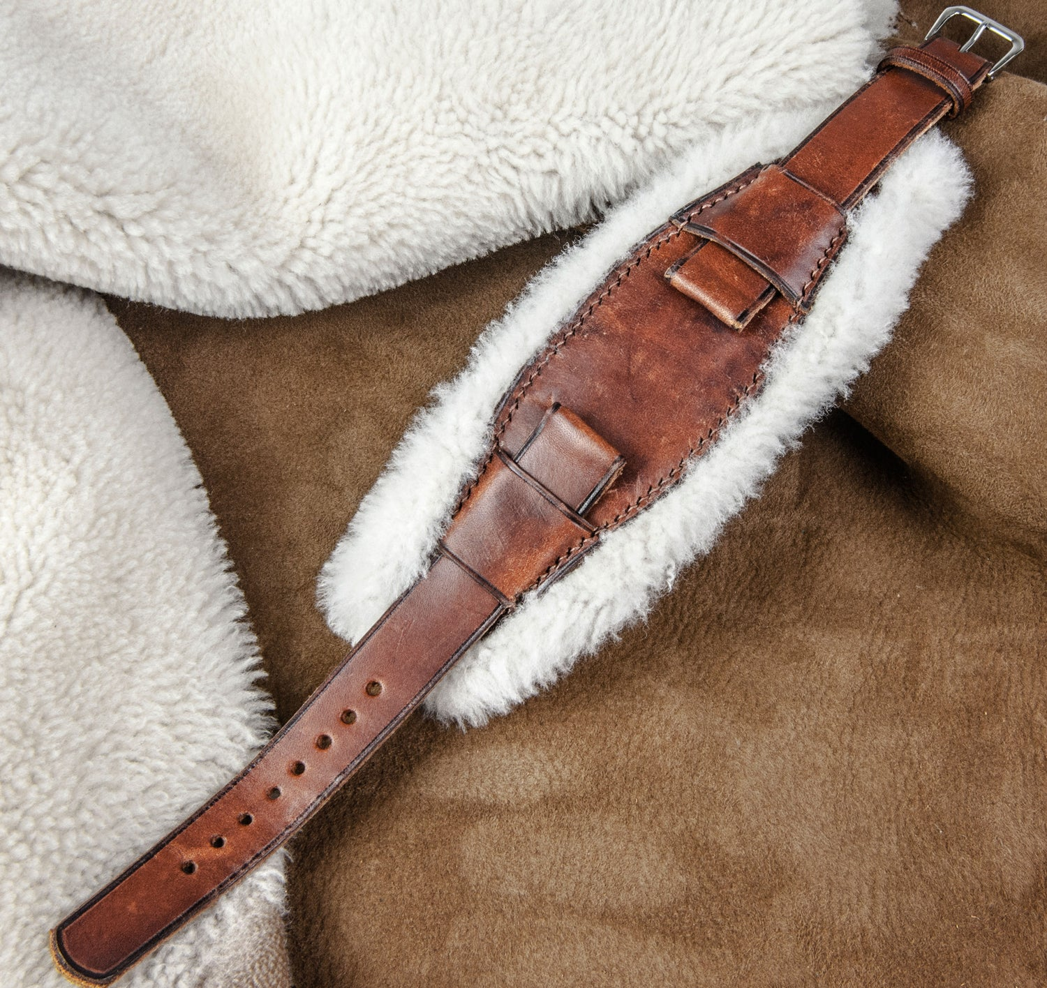 """Image of """"Gstaad"""" Shearling Bundeswehr strap with vintage calfskin"""