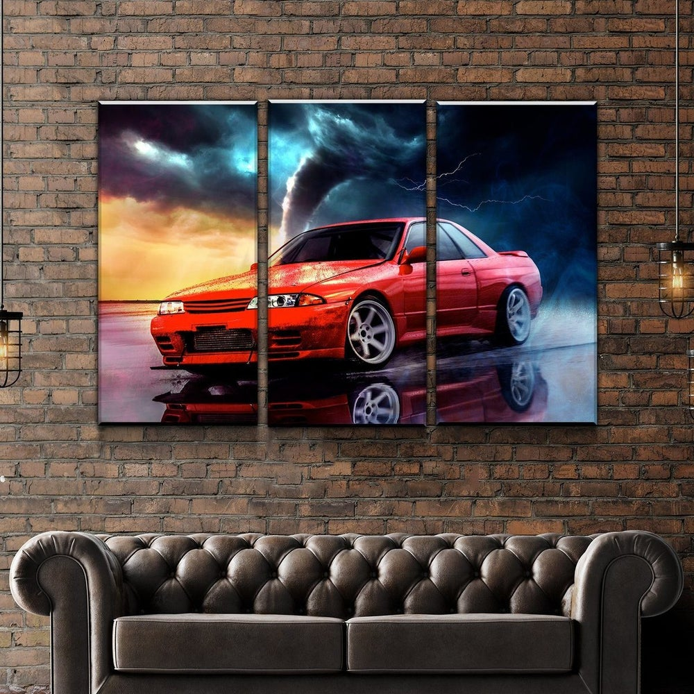 Image of Digital Drawing of YOUR Car + Canvas: 3 Piece