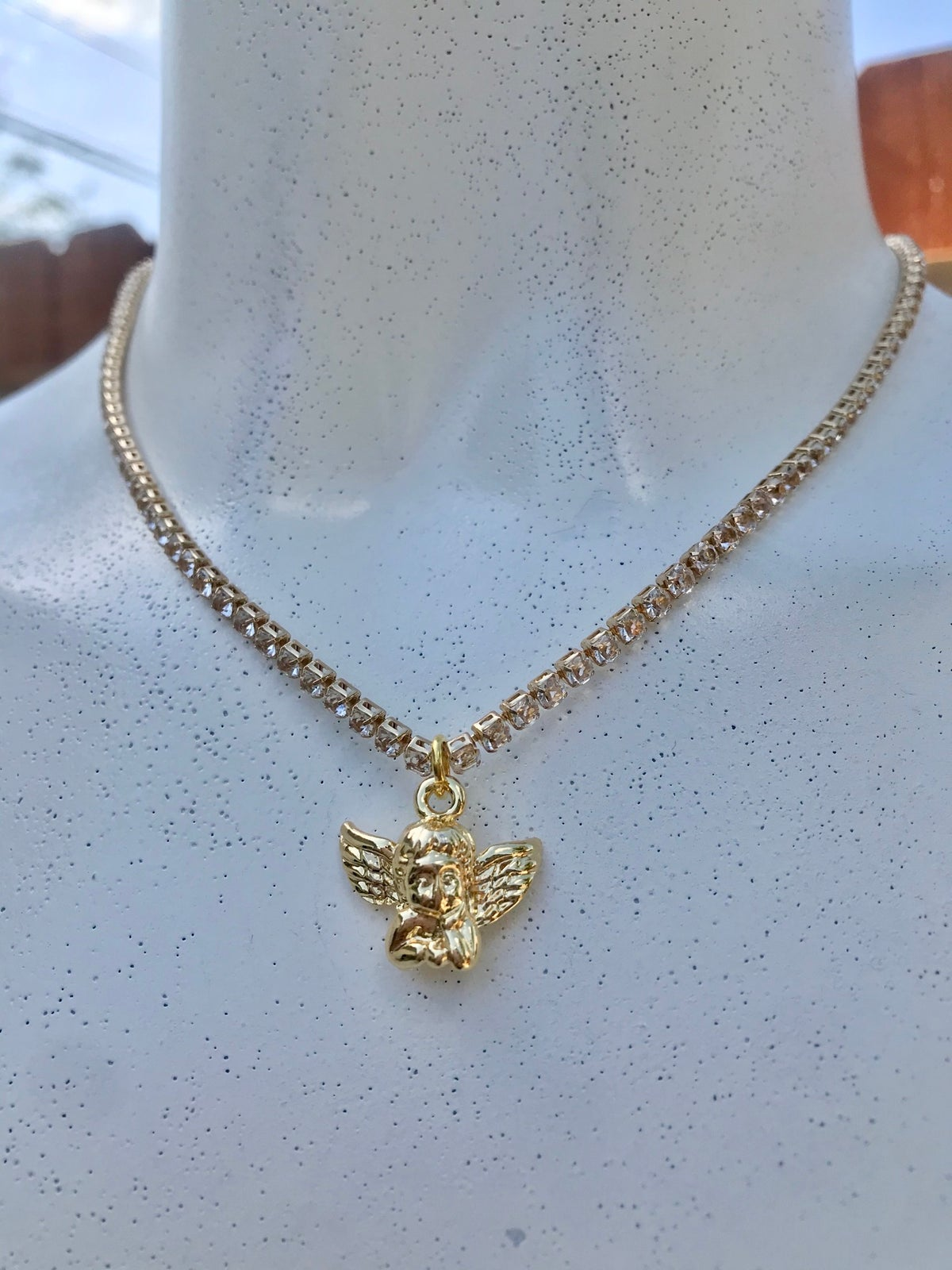 Image of ANGEL 18K PLATED CHARM NECKLACE