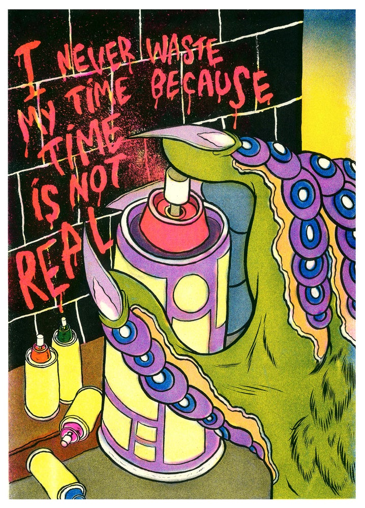 """Image of """"Time is Not Real"""" Risograph Print"""