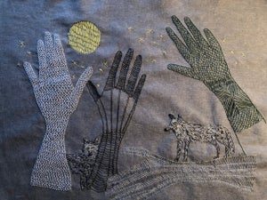 Image of The return of the wolves. Original embroidery.