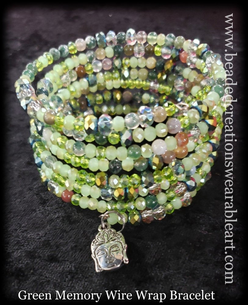 Image of Green Memory Wire Wrap Bracelet