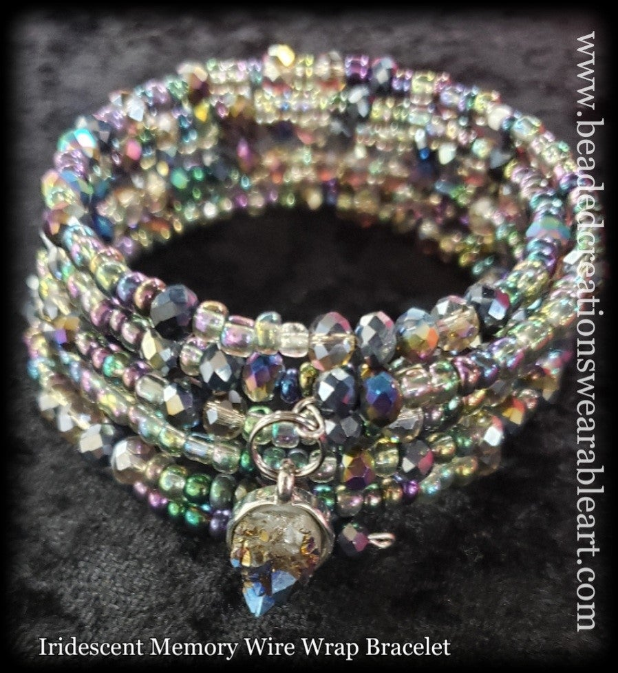 Image of Iridescent Memory Wire Wrap Bracelet
