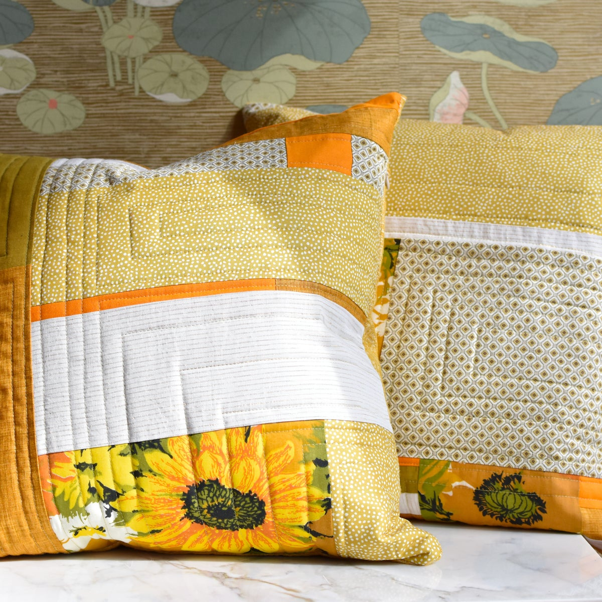 Image of Orange Flower Power Pillow: One of a kind