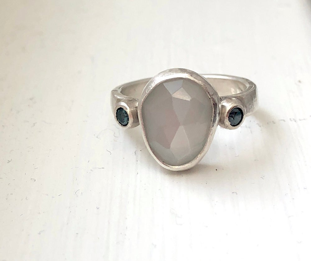 Image of Gray Moonstone with Blue Diamonds