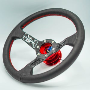 Image of Leather Grip Carbon Steering Wheel