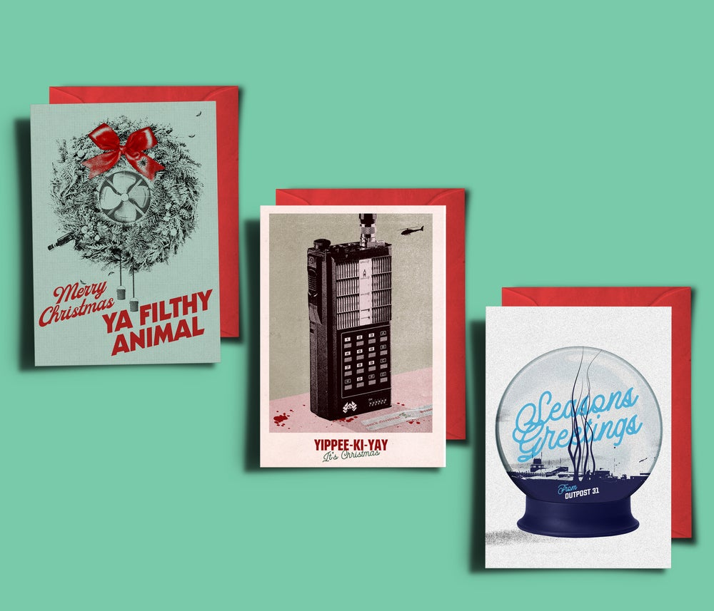 Image of 3 x Pack Of Movie Themed Xmas Cards (The Thing, Home Alone, Die Hard)