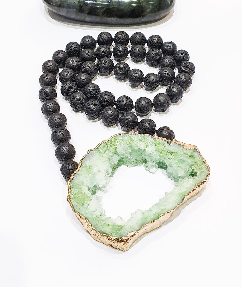 Image of Lava and Green Drusy Necklace