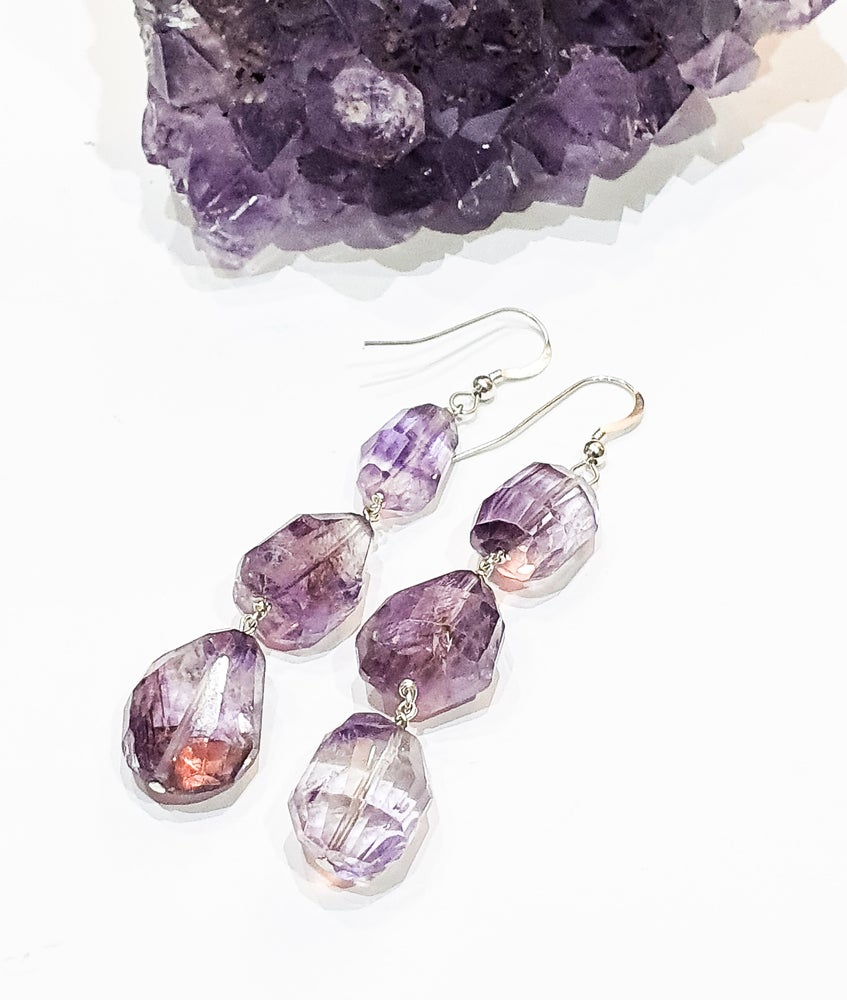 Image of 3 Drop Ametrine Chunk Earrings