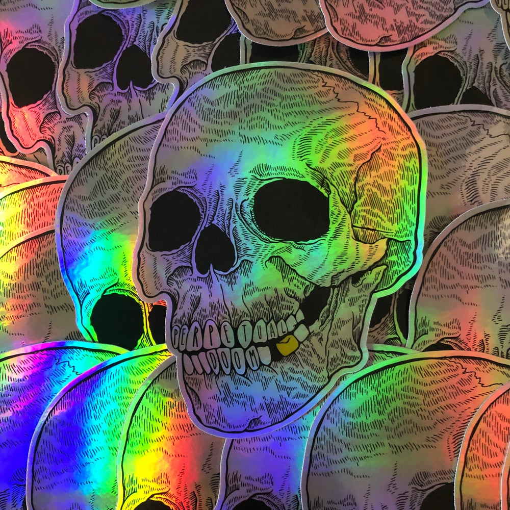Holographic Skull Sticker