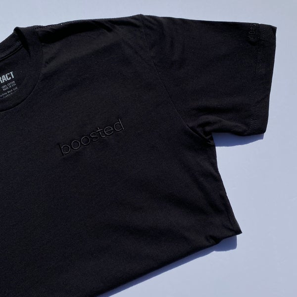 "Image of BOOSTED EMBROIDERY ""BLACKOUT"" T-SHIRT & HOODY"