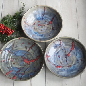 Image of Set of Three Coordinating Serving Bowls, Handcrafted Pottery Bowls, Made in USA