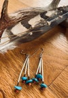 Triple Porcupine and Turquoise Earrings