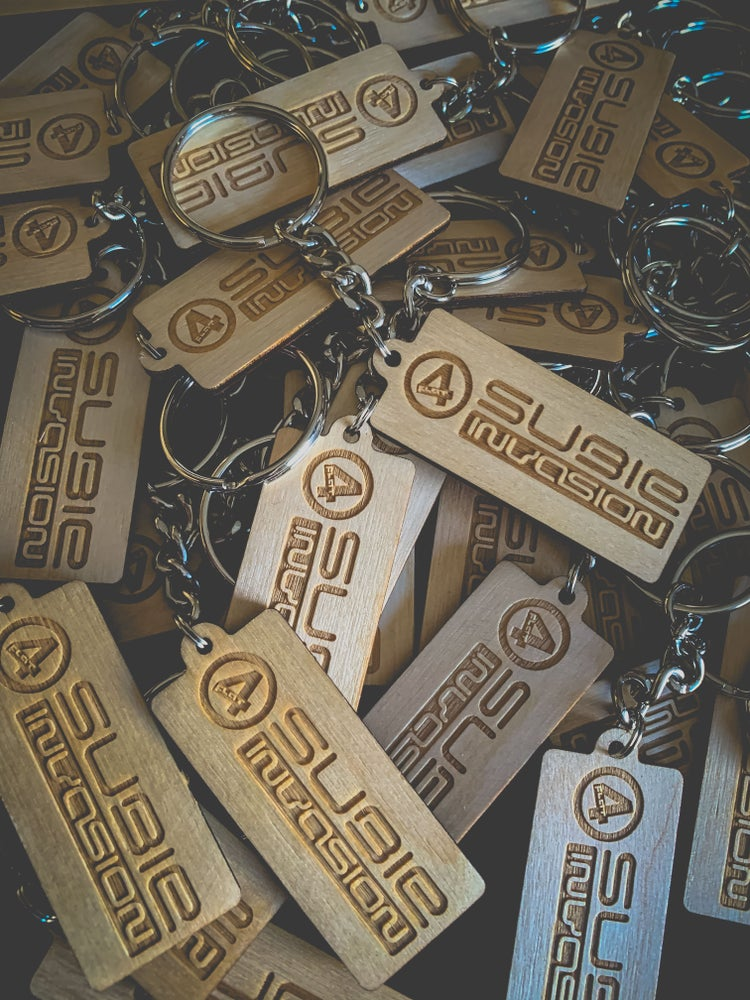 Image of Subie Invasion Wooden Key Chain