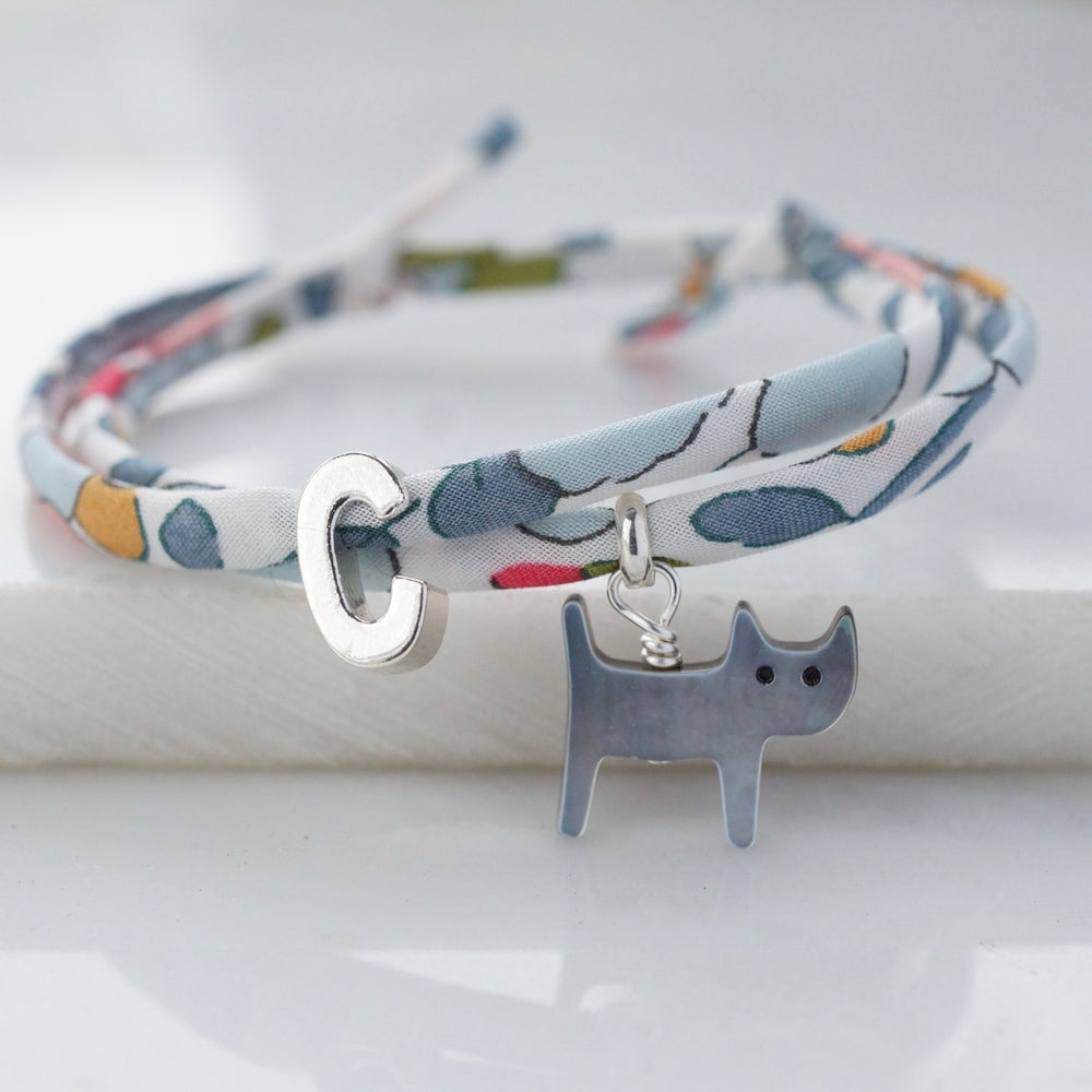 Image of Personalised Liberty print cat bracelet