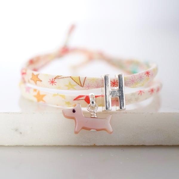 Image of Personalised Liberty print dog bracelet
