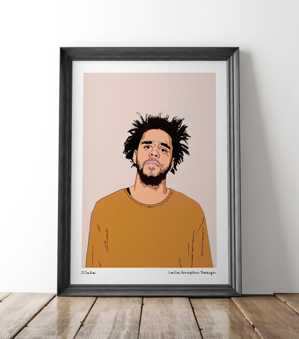 Image of J Cole - Line art print