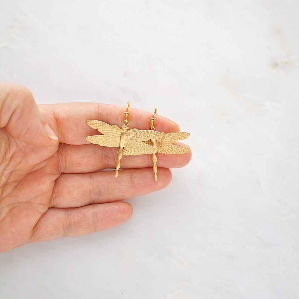 Image of Gold dragonfly earrings