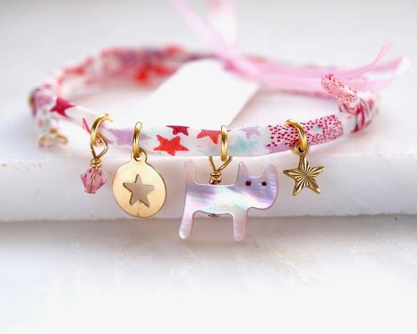 Image of Cat and star Liberty print bracelet