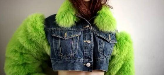 Image of Denim X Fox Fur Jacket