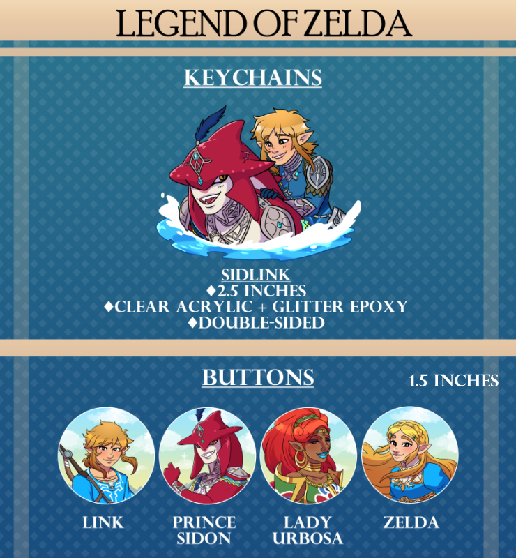 Image of Legend of Zelda Keychains & Buttons