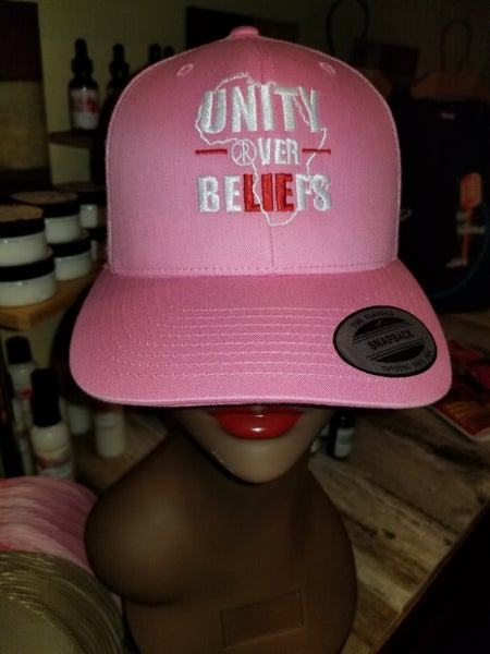 Image of Unity Over Beliefs with Map of Africa pink cap