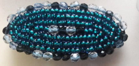 Blue Beaded Hair Clip