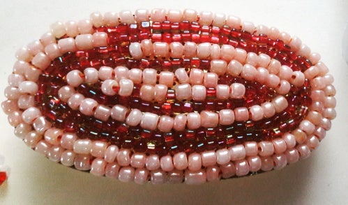 Red and Pink Beaded Hair Barrette