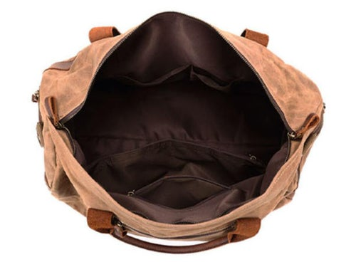Image of Waxed Canvas Leather Travel Bag Duffle Bag Holdall Luggage Weekender Bag FX8826