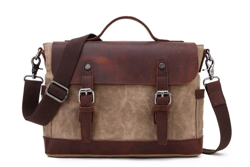 Image of Waterproof Waxed Canvas Messenger Bag, Canvas Leather Briefcase, Laptop Bag YC09