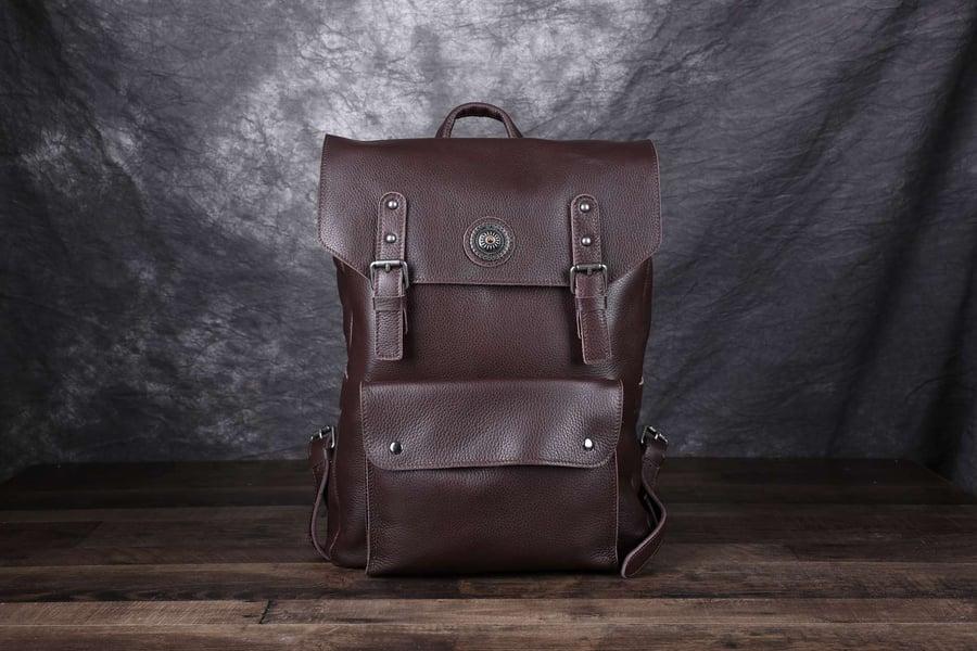 Image of Vintage Handmade Full Grain Leather Backpack, Travel Backpack, Rucksack 9025