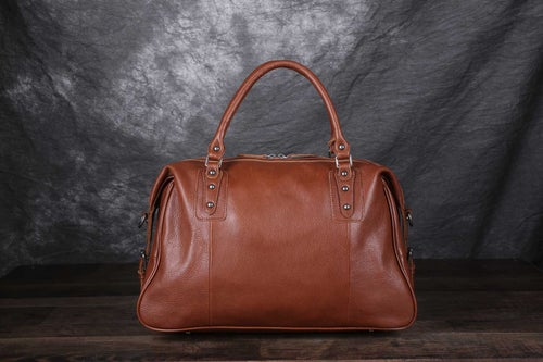 Image of Vintage Style Vegetable Tanned Leather Travel Bag, Duffle Bag, Weekender Bag, Holdall 9029