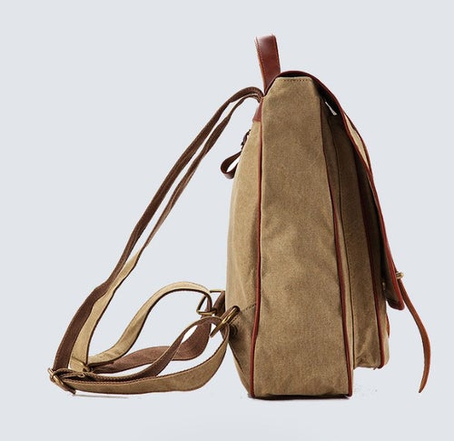 Image of Waxed Canvas Backpack with Leather Trim, Casual Backpack, School Backpack, Rucksack 1831