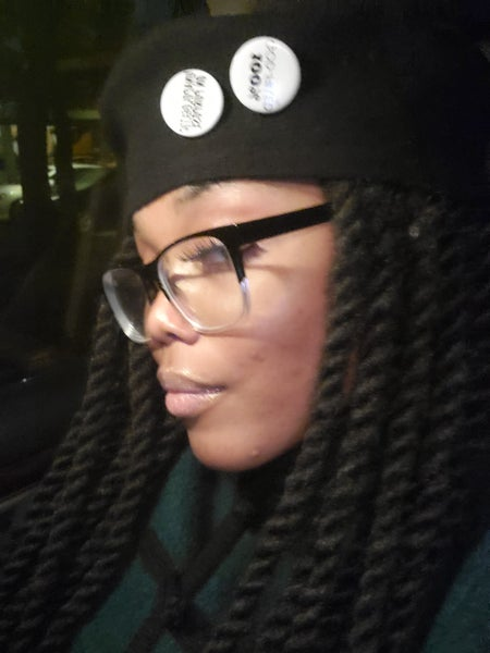 Image of Message Berets with Message Buttons