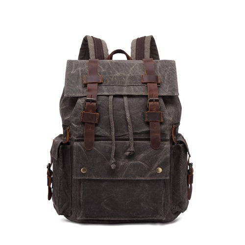 Image of Waxed Canvas Backpack, Men Leather Rucksack, Travel Backpack Waterproof Canvas Leather Backpack YC01