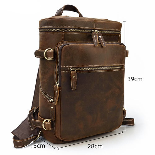 Image of Vintage Leather Backpack, Travel Backpack, Hiking Backpack, Leather Rucksack BB1032