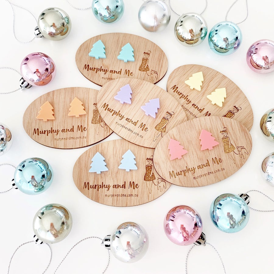 Image of Pastel Christmas Tree Studs