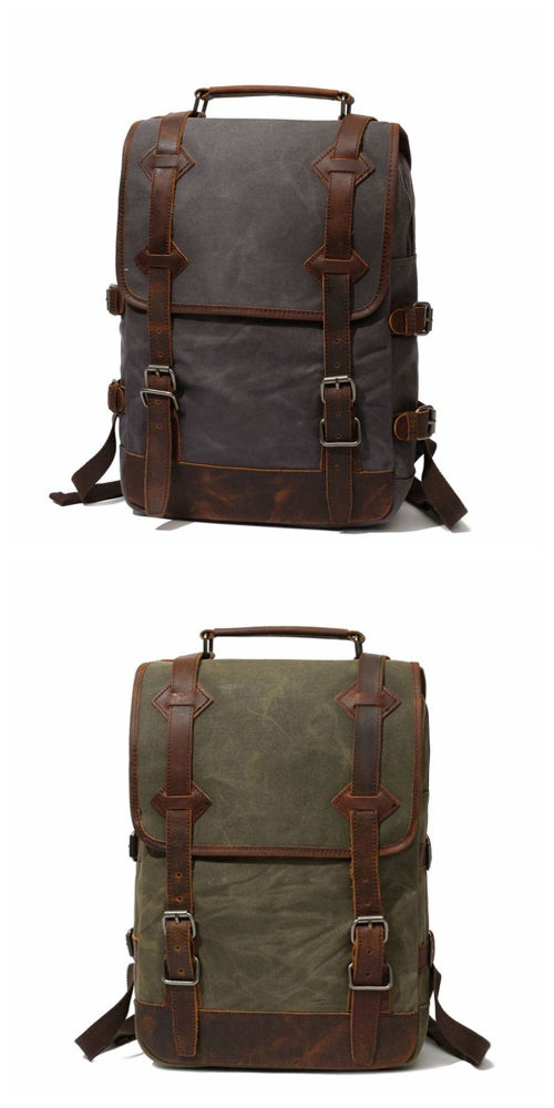 Image of Waxed CanvasRucksack with Leather Trim, Mens Leather Backpack, Travel Backpack FX16