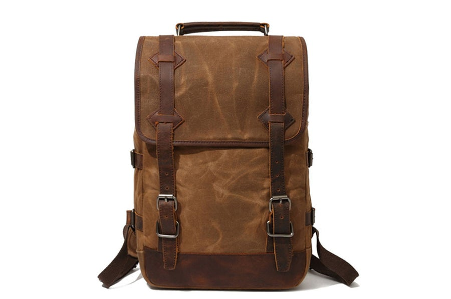 Image of Waxed Canvas Rucksack with Leather Trim, Mens Leather Backpack, Travel Backpack 16990