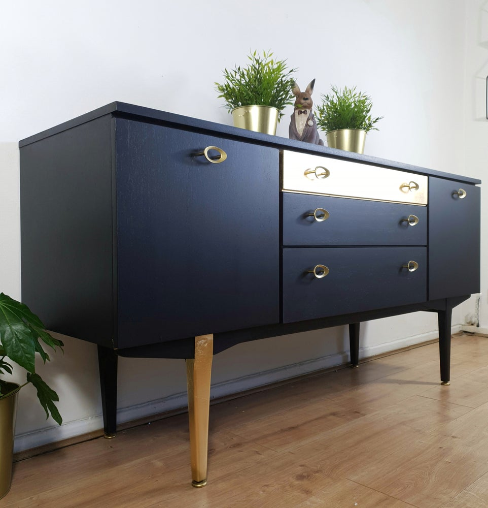 Image of Black & gold leaf Nathan sideboard