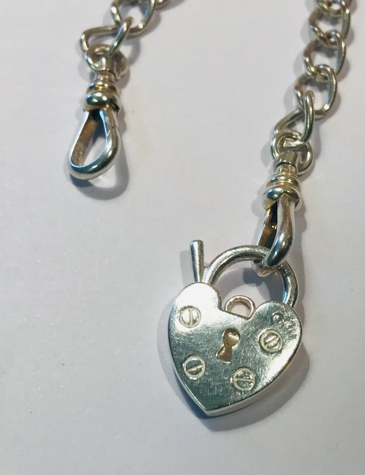 Image of Silver heart padlock necklace