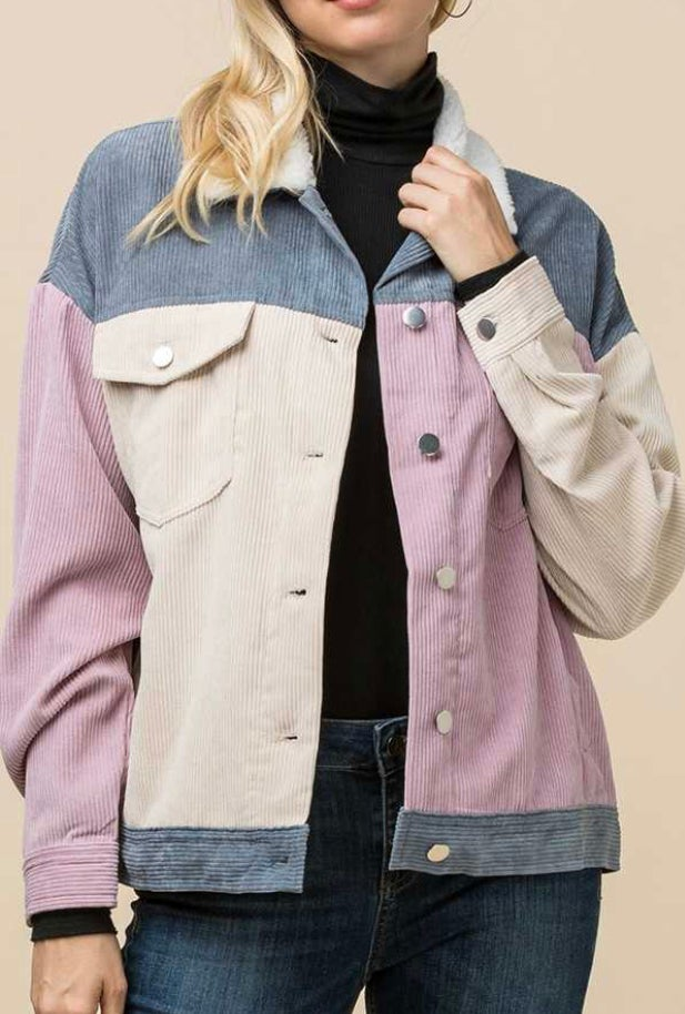 Image of Colorblock Corduroy Jacket with Sherpa Collar