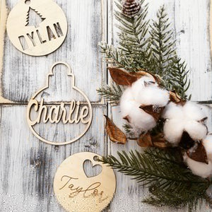 Image of Personalized Wooden Christmas Ornaments