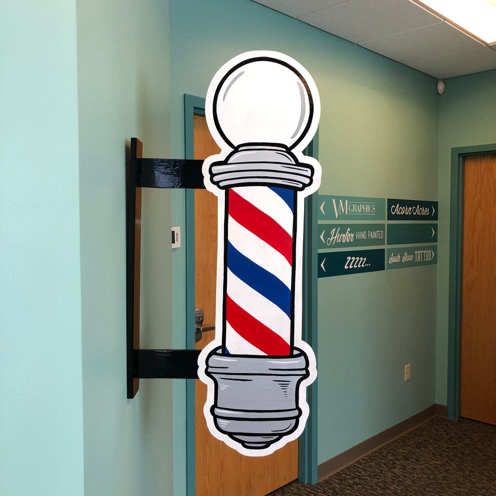 Double sided barber pole blade sign