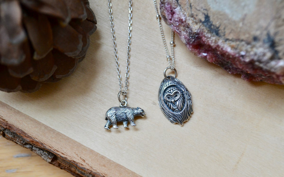 Image of Detailed owl and bear necklaces