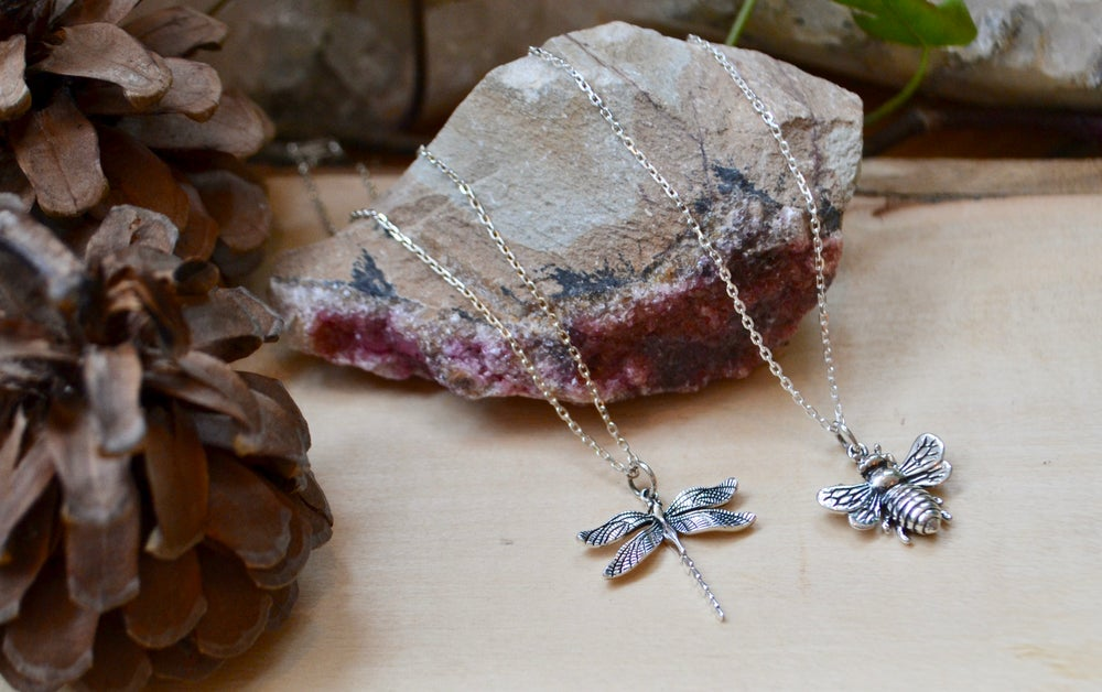 Image of Dragonfly and larger bee necklaces