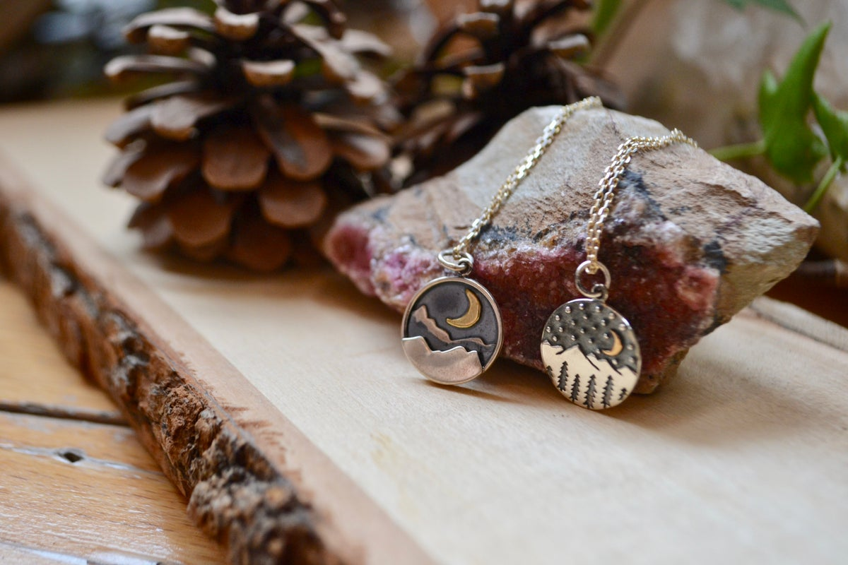 Image of Mountain night time scene necklaces