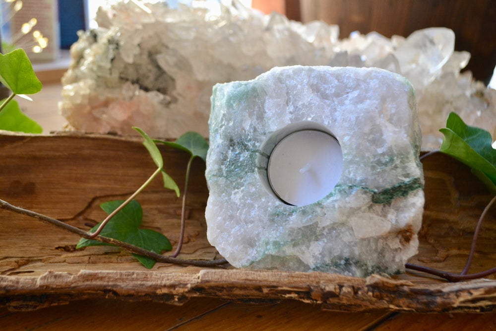 Image of Green and white quartz tea light holder